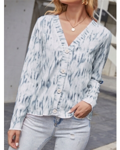 Dresswel Women Tie Dye Printed Buttons V Neck Long Sleeve Knitted Sweater Tops