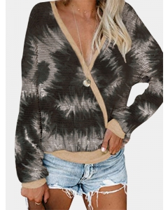 Dresswel Women Tie-dyed Print Gradient V Neck Long Sleeves Pullover Blouse Tops