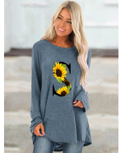 Dresswel Women S Letter Sunflowers Graphic Print Crew Neck Casual Tunics Blouse Tops