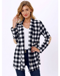 Dresswel Women Checkered Print Open Front Patchwork Long Sleeves Outwear Cardigan Tops