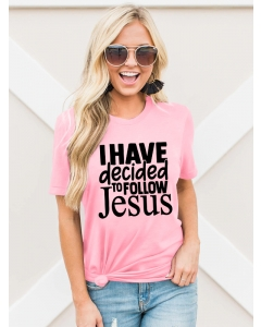 Dresswel Women I Have Decided to Follow Jesus Print Short Sleeve Letter T-shirt Tops