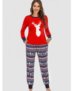 Dresswel Women Christmas Reindeer Graphic Print Tops and Pants Outfit Loungewear