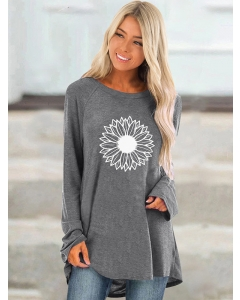 Dresswel Women Flower Printed Crew Neck Long Sleeve Loose Fit Comfy T-Shirts Tops