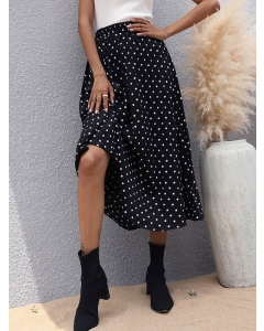 Dresswel Women Slimming Look High Waist Polka Dot Print Ruching Fashion A-line Skirt