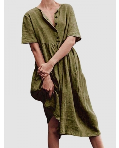 Dresswel Women Solid Color Short Sleeve Buttons Cotton and Linen Midi Swing Dress
