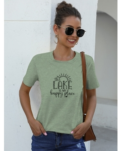 Dresswel Women The Lake Is My Happy Place Letter Sun Heart Graphic T-shirts Tops