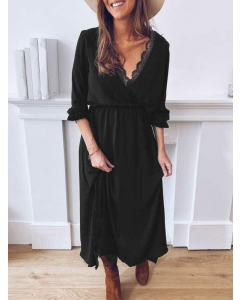 Dresswel Women Lace Splicing V Neck Ruched Solid Color Long Sleeve Mid-Waisted Maxi Dress