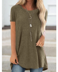 Dresswel Women Solid Color Round Neck Bottoming Raglan Sleeves Tunics T-Shirt Tops