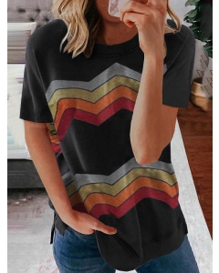 Dresswel Women Colored Zig Zag Striped Print Crew Neck Short Sleeve Casual T-shirt Tops