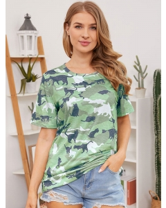 Dresswel Women Camouflage Cat Graphic Printed Color Block Military T-shirts Tops