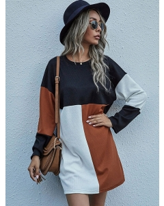 Dresswel Women Contrast Color Patchwork Pullover O Neck Slimming Long Sleeves Mini Dress