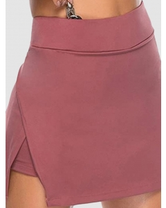 Dresswel Women Solid Color Side Split Irregular High Waist Casual A-line Mini Skirt