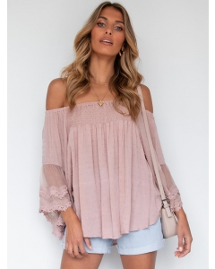 Dresswel Women Solid Color Off-The-Shoulder Stitching Flare Sleeve Loose Blouse Tops