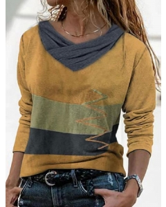 Dresswel Women Contrast Color Cowl Neck Simple Patchwork Long Sleeves Casual T-Shirt Tops