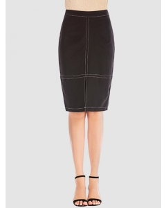 Dresswel Women Solid Color High Waist Split Bodycon Work Office Midi Skirt