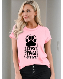 Dresswel Women Stay Pawsitive Graphic Loose Letter T-shirt Tops