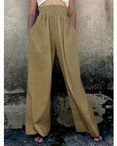 Dresswel Women Solid Color High Waist Loose Cotton and Linen Wide Leg Pants Bottoms