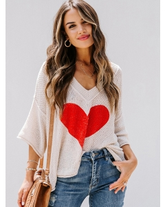 Dresswel Women Heart Shaped Graphic V-neck 3/4 Sleeve Pullover Loose Knit T-shirt Tops