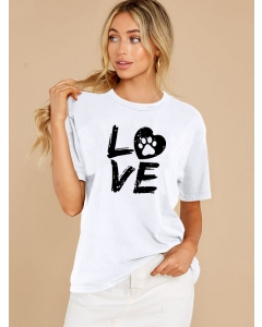 Dresswel Women Love Letter Heart Animal Footprint Graphic Printed T-shirts Tops