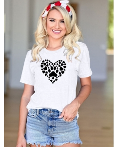 Dresswel Women Animal Footprint Heart Shaped Graphic Print Solid Color T-shirts Tops