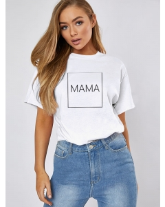 Dresswel Women Mama Letter Printed Solid Color Crew Neck Short Sleeve T-shirts Tops