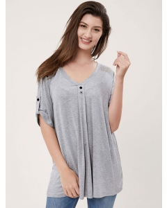 Dresswel Women Solid Color Lace Splicing V Neck Button Short Sleeve T-shirt Tops