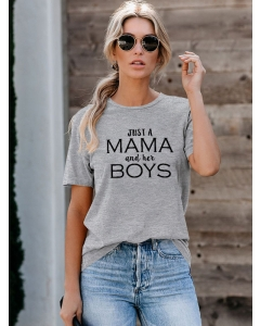 Dresswel Women Just A Mama And Her Boys Letter Printed Short Sleeve Crew Neck T-Shirts Tops