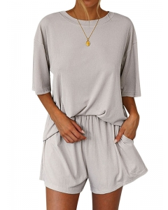 Dresswel Women Solid Color Loose Short Sleeves Tshirt and Shorts Two Pieces Set Loungewear