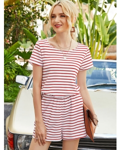 Dresswel Women Short Sleeve Round Neck Horizontal Stripes Playsuit Jumpsuit Bottoms