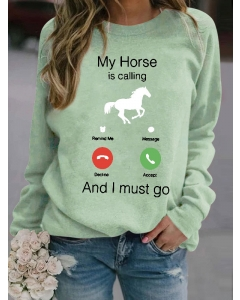 Dresswel Womens My Horse is Calling and I Must Go Funny Print Casual Sweatshirt Tops