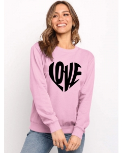 Dresswel Women Love Letter Printed Long Sleeve Valentine's Day Sweatshirts Tops