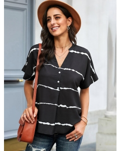Dresswel Women Stripe Printed V Neck Buttons Short Sleeve Fashion Loose Fit Blouse Tops