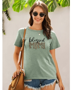 Dresswel Women Blessed MiMi Graphic Print Short Sleeve O-neck Comfy T-shirt Tops