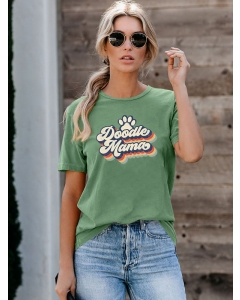Dresswel Women Doodle Mama Letter Graphic Printed Crew Neck Short Sleeve T-Shirts Tops
