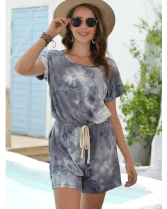 Dresswel Women Color Block Tie Dye Short Rompers Short Sleeve Drawstring Jumpsuits