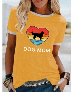 Dresswel Women Dog Mom Letter Retro Vintage Graphic Printed Pointer T-shirts Tops