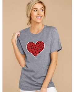 Dresswel Women Stylish Heart Print Crew Neck Short Sleeve Pullover Bottoming T-Shirt Tops
