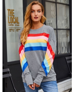 Women Rainbow Striped Spliced Pullover Tops Colorful Casual Sweatshirts