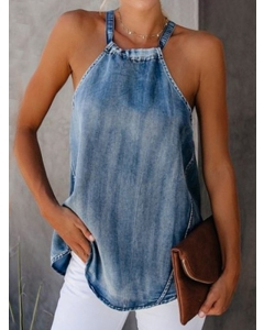 Dresswel Women Solid Color Denim Halter Neck Sleeveless Bowknot Backless T-Shirt Top