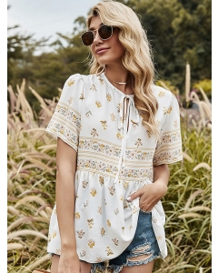 Dresswel Women Floral Print Tie-up Ruffle Round Neck Short Sleeves Bohemia Blouse Tops