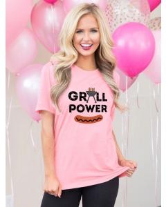 Dresswel Women Grill Power Letter Barbecue Hot Dog Graphic Printed T-shirts Tops