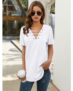 Lunawe Women Lace-up Front Solid Color Short Sleeve Tunics T-shirts Tops