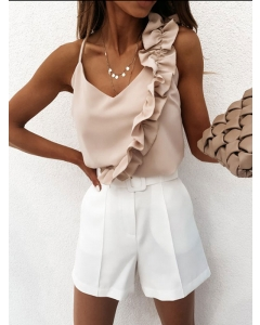 Dresswel Women Solid Color V Neck Ruffle Splicing Opened Back Pullover Cami Tops