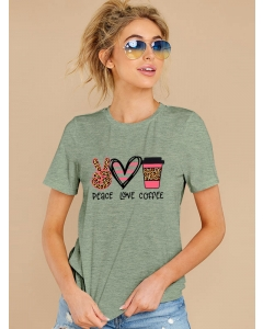 Dresswel Women Peace Love Coffee Letter Graphic Printed Valentine Day Short Sleeve T-Shirts Tops