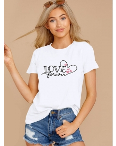 Dresswel Women Love Forever Letter Hearts Graphic Print Valentine's Day T-shirts Tops