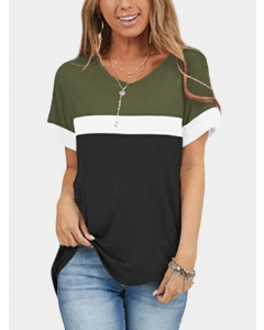Dresswel Women Colorblock Round Neck Short Sleeve Casual Relaxed T-Shirts Tops
