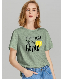 Dresswel Women Play Hard Or Go Home Letter Baseball Graphic Printed T-shirts Tops