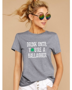Dresswel Women Drink Until You're A Gallagher Letter Print Graphic Pullover T-Shirt Tops