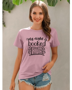 Dresswel Women My Night Is Booked Letter Print Round Neck Graphic T-Shirt Tops