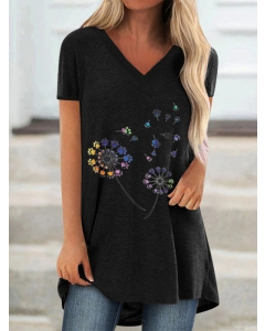 Dresswel Women Multicolor Graphic Print Short Sleeve V Neck Pullover T-Shirt Top